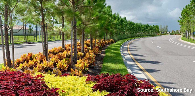 lush landscaping elements