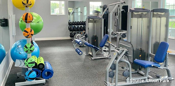indoor fitness center elements